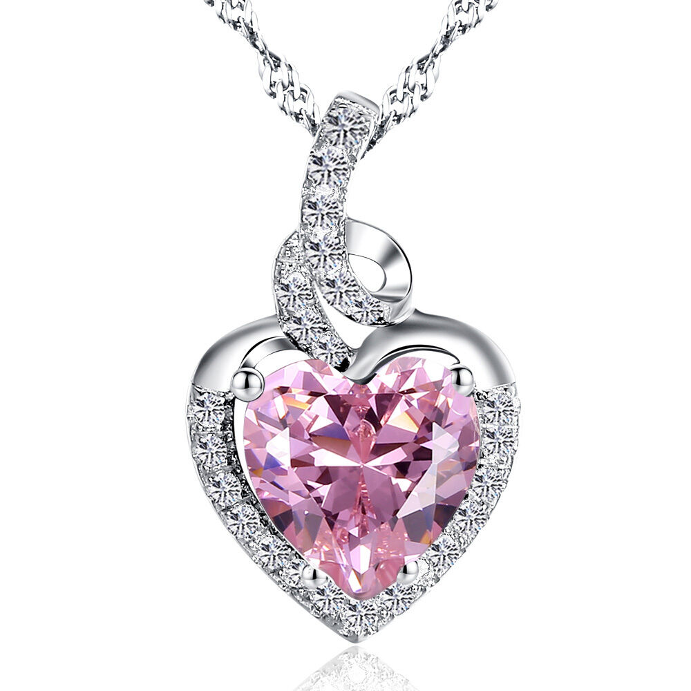 2.00Ct Created Pink Sapphire Heart Cut Pendant Necklace ...
