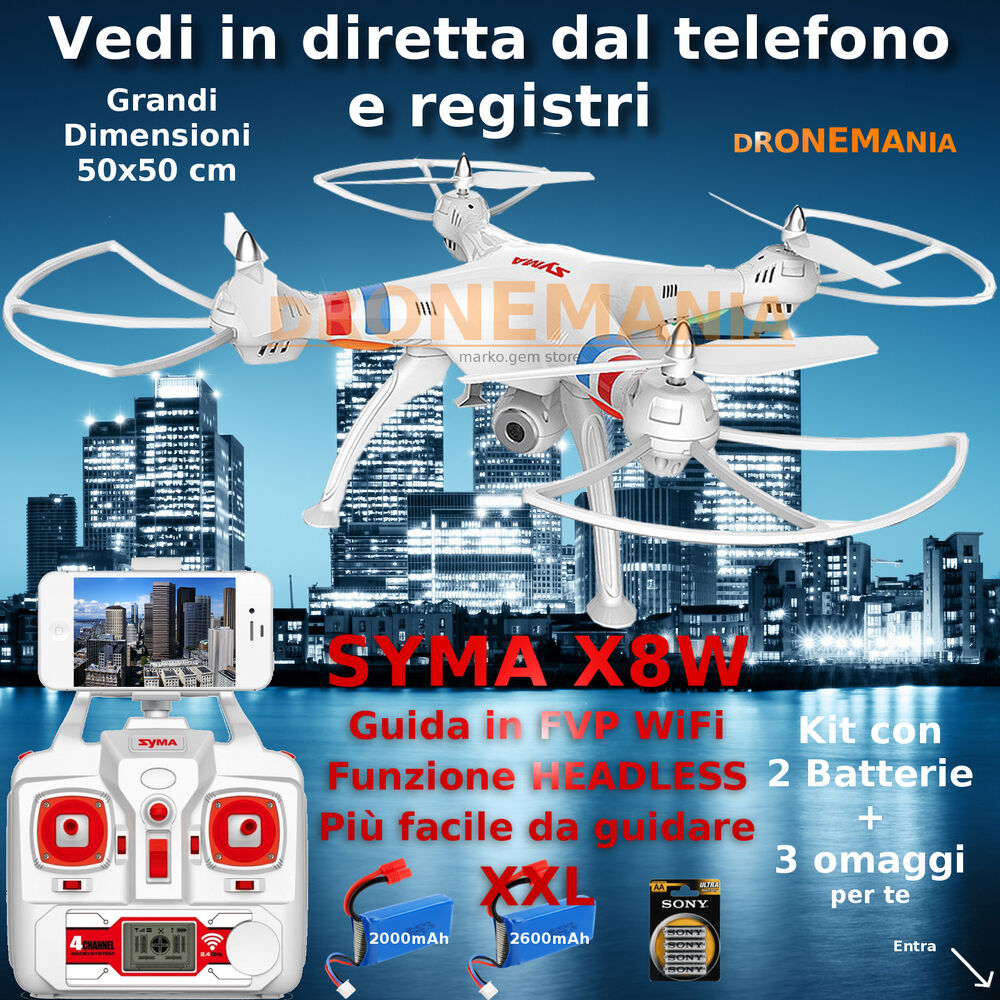 Drone syma x8w headless camera wifi video realtime in for Diretta camera