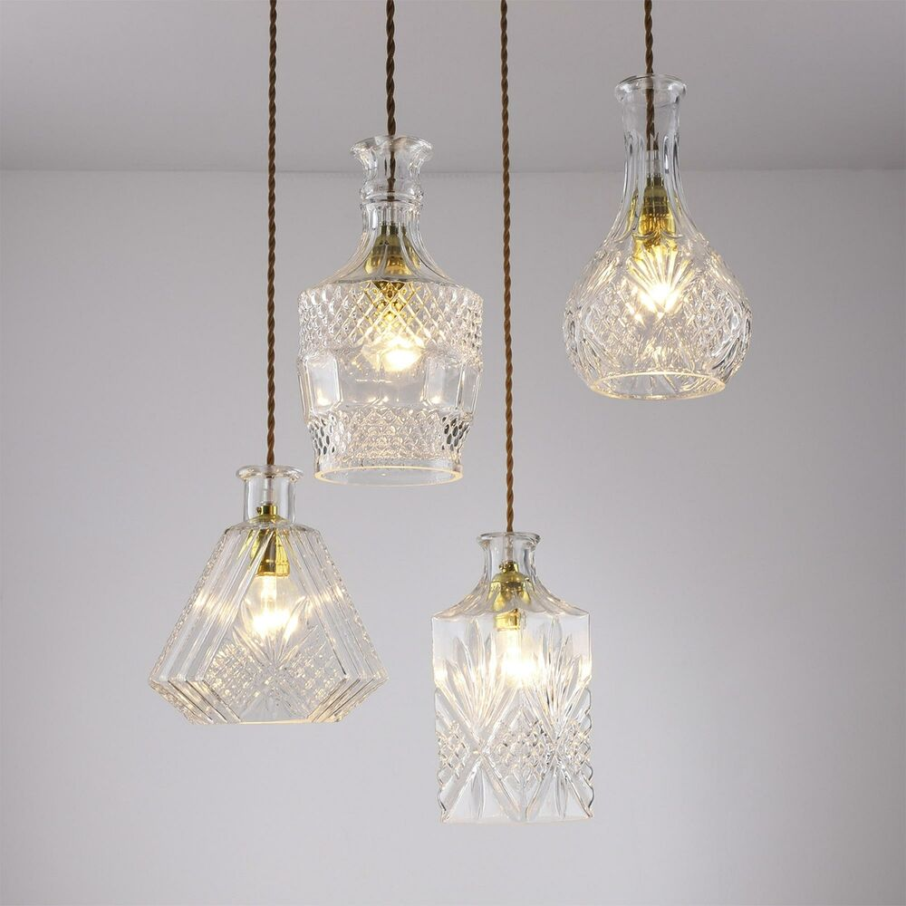 Decanter Perfume Glass Bottle Pendant Lamp With Fabric