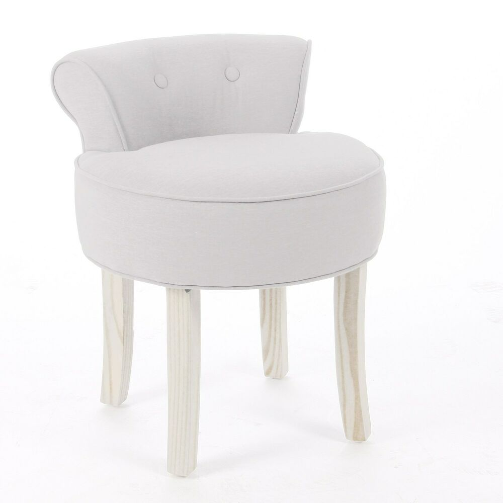 Dressing table vanity stool padded seat chair modern bedroom beige cotton linen ebay - Stool for vanity table ...