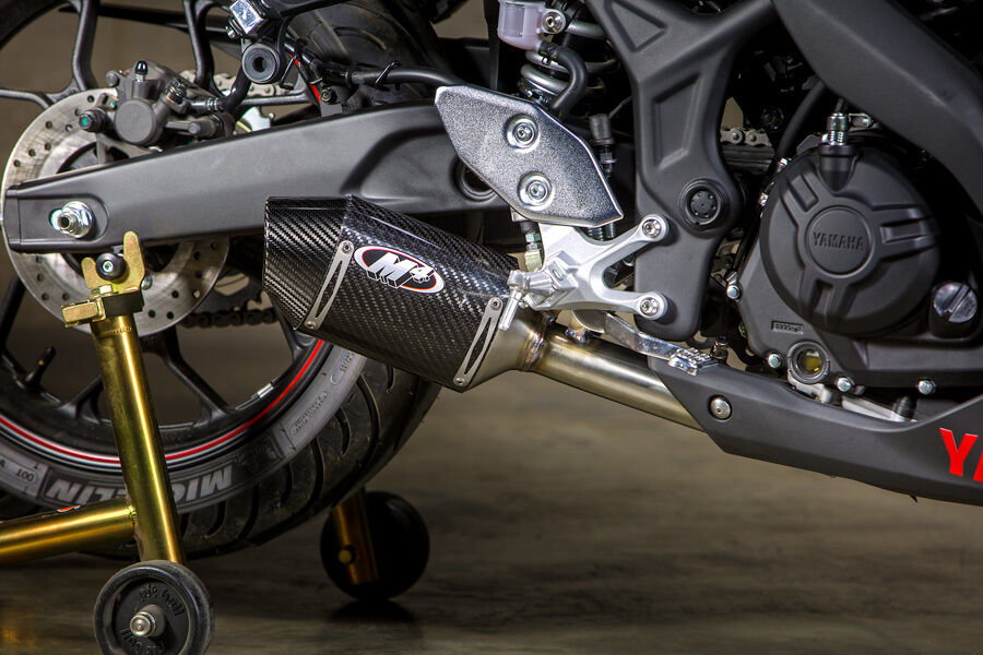 M4 exhaust yamaha r3 2015 16 street slayer carbon fiber for Yamaha r6 carbon fiber exhaust