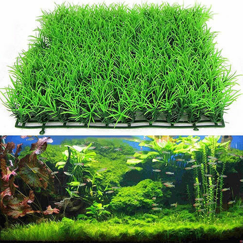 Plastic artificial green grass fish tank ornament plant for Artificial grass decoration