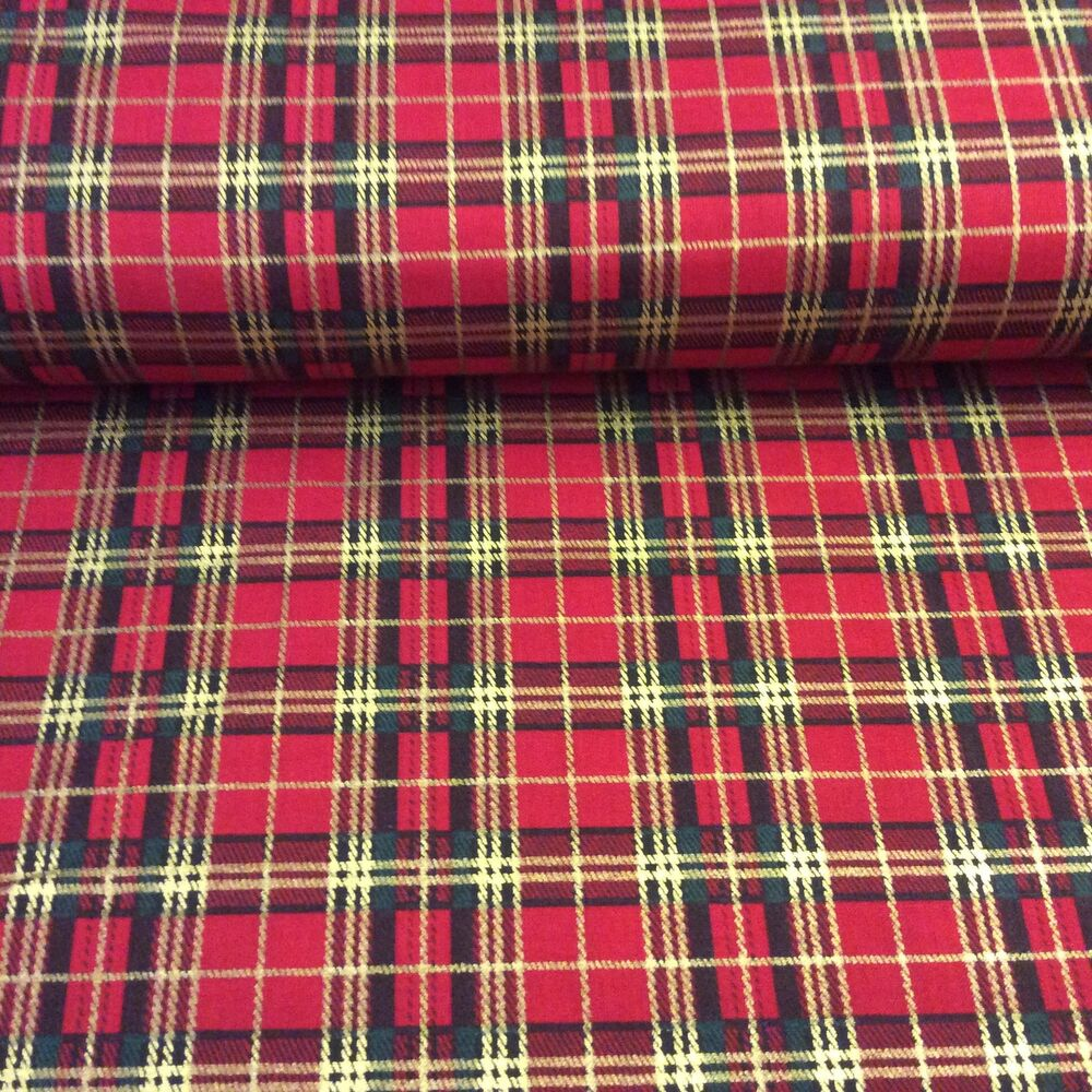 Details About Cotton Fabric Material Red Christmas Tartan Extra Wide
