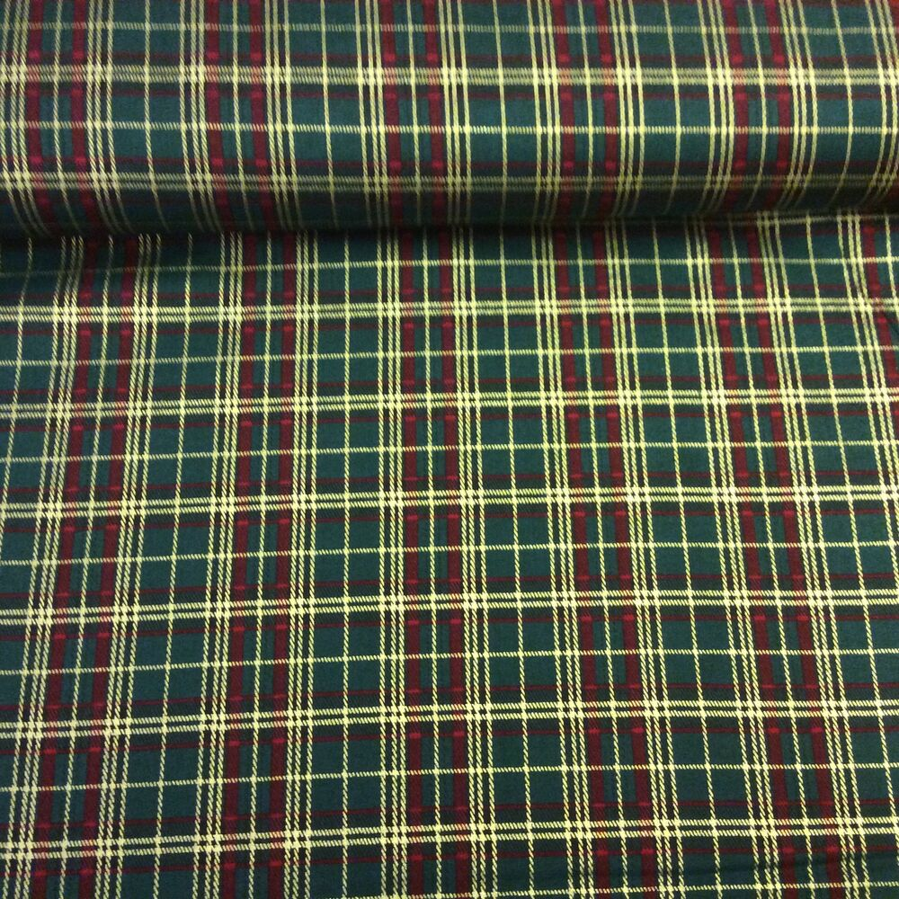 Details About Cotton Poplin Fabric Material Green Christmas Tartan Extra Wide
