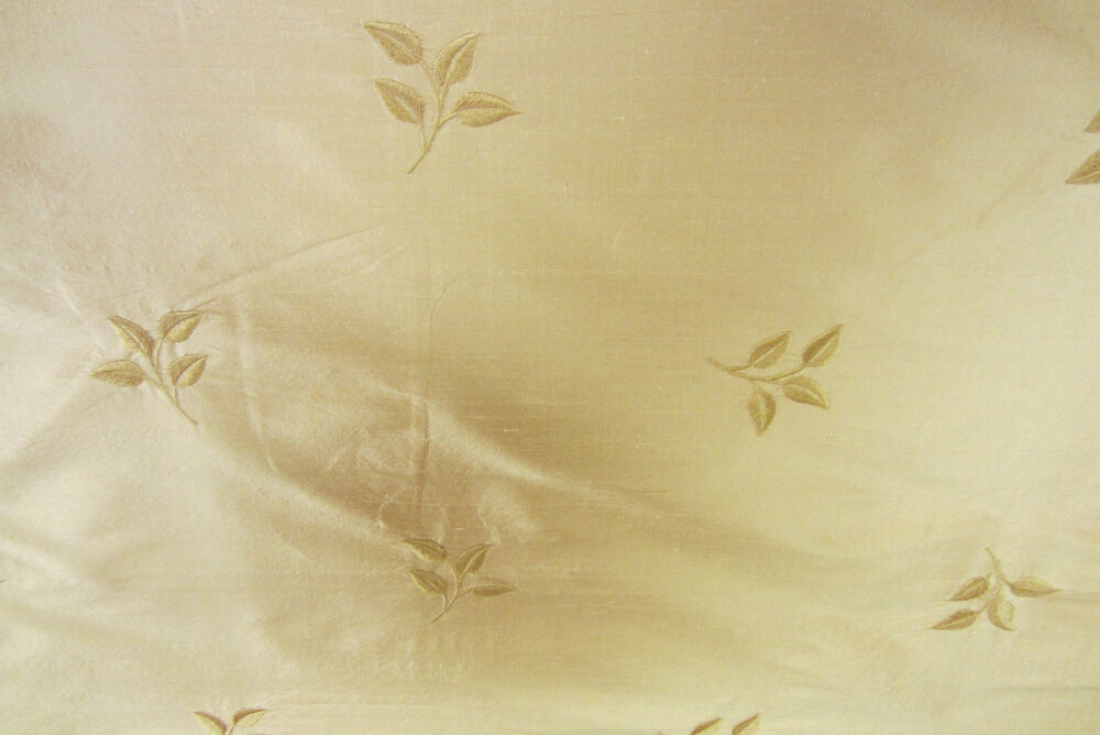 Embroidered leaf oriental gold silk curtain craft