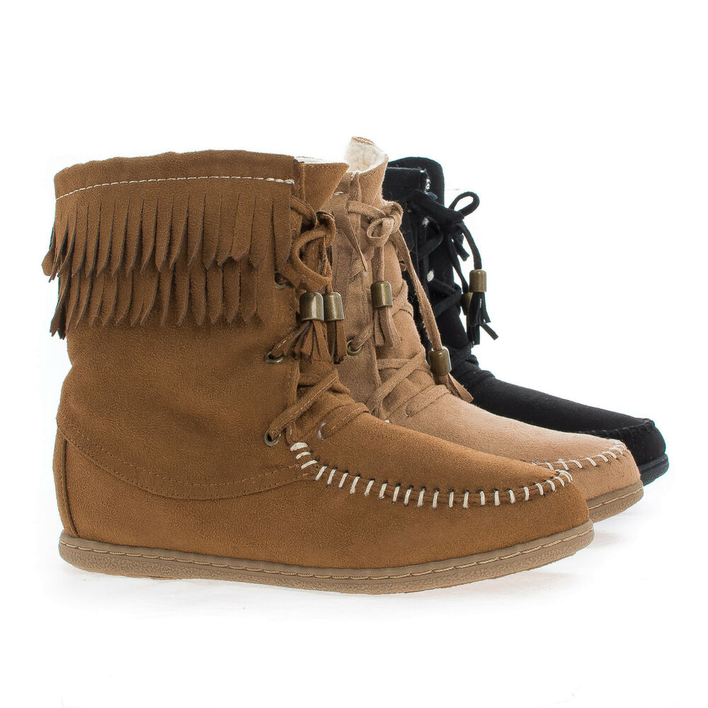 tying moccasin faux shearling lining lace up fringe ankle