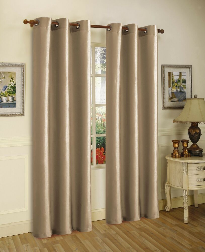 2 Panels Taupe Lined Thermal Blackout Grommet Window Curtain 55 Wide X Pc 60 Ebay