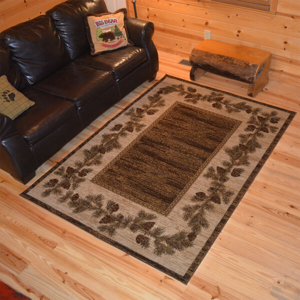 8x10 7 10 Quot X9 10 Quot Lodge Cabin Rustic Pinecone Brown Area