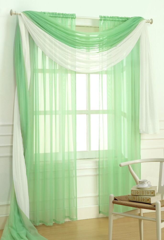 Sheer Voile 2 Piece Jade Green Curtain Panel Solid Window Treatment 84 Long New Ebay