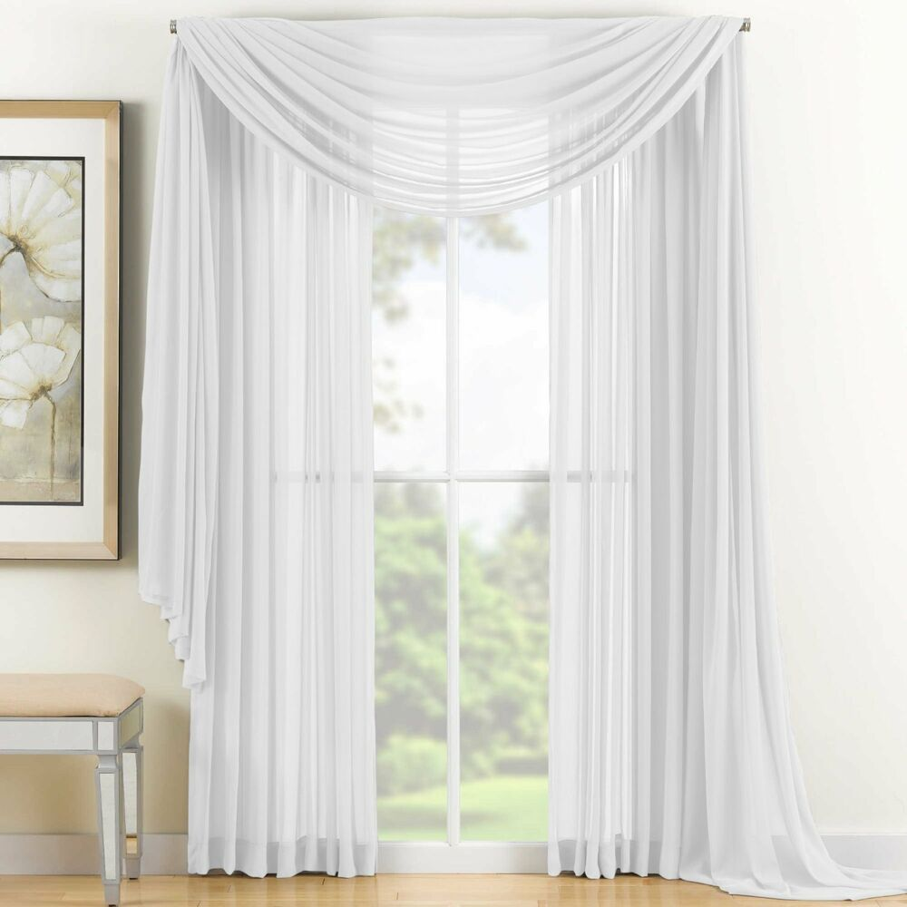 Sheer voile 2 piece white curtain panel solid window for Window voiles