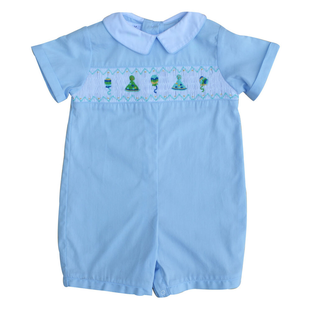 Baby Boy's Hand Smocked Shortall - Blue Birthday Party | eBay