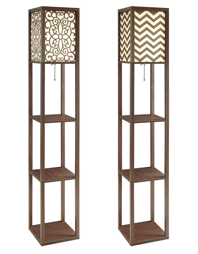 Cappuccino floral chevron pattern floor lamp 3 tiered for Chevron shelf floor lamp