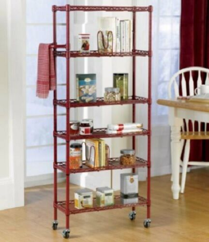red 6 shelf portable rolling kitchen pantry shelf rack