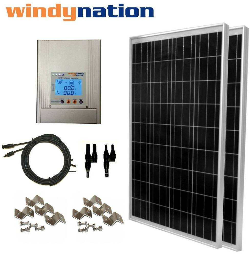 Mppt Complete Solar Panel Kit 200 Watt 200w 12v Rv Boat