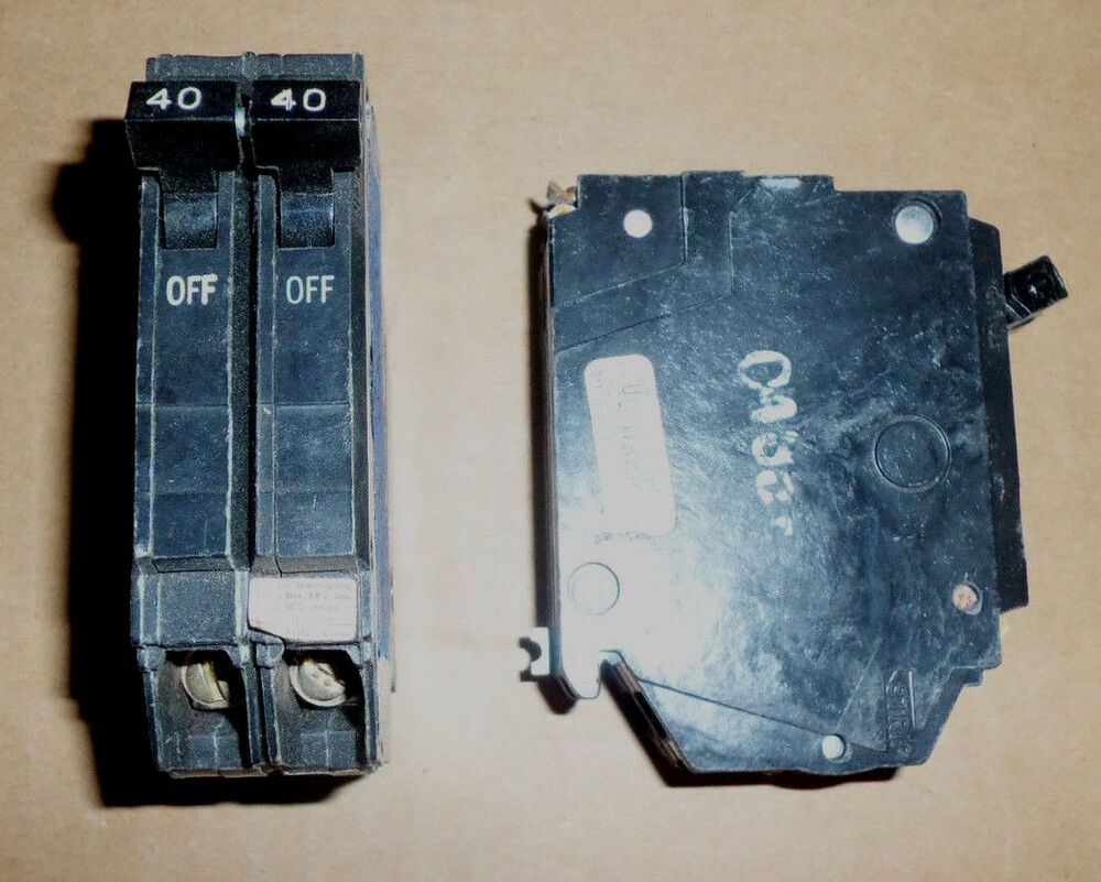 Ge Thqp 2 Pole 40 Amp 120  240v Thqp240 Circuit Breaker Old