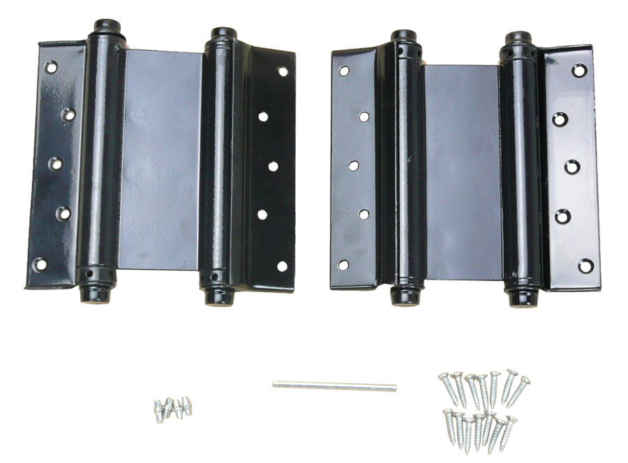 2 5 adjustable double action spring hinge saloon swing door w screws black ebay for Adjustable hinges for exterior doors