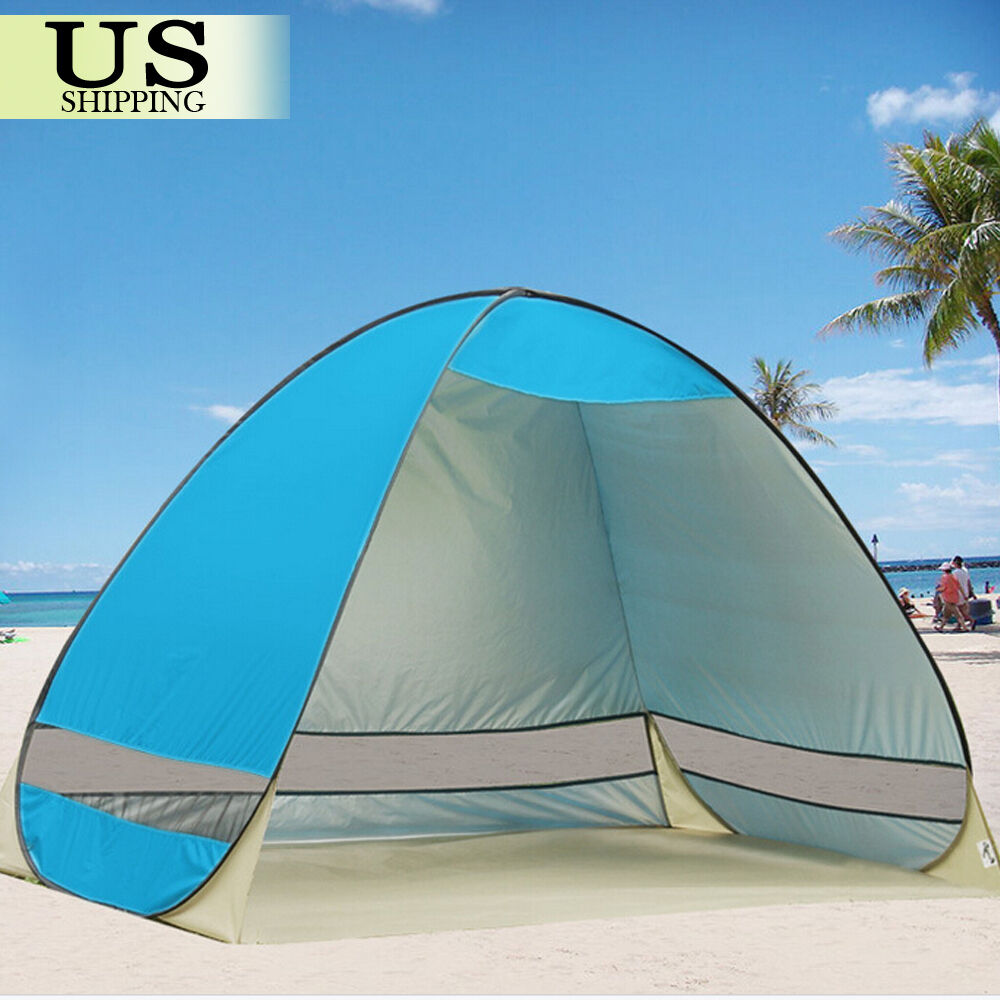 pop up portable beach canopy sun shade shelter outdoor camping fishing tent mesh ebay. Black Bedroom Furniture Sets. Home Design Ideas