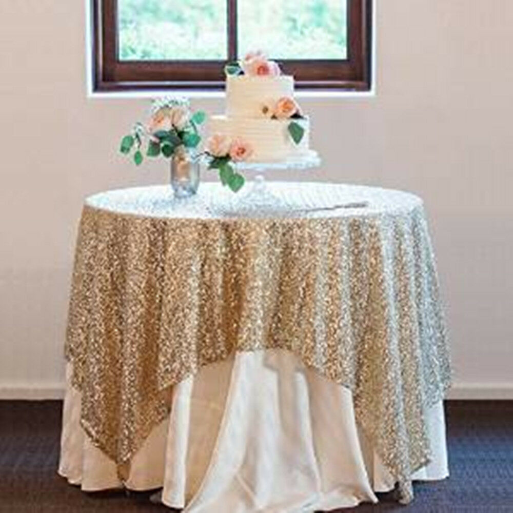 New 48 72 gold sequin tablecloth overlays fancy wedding for Where can i buy table linens
