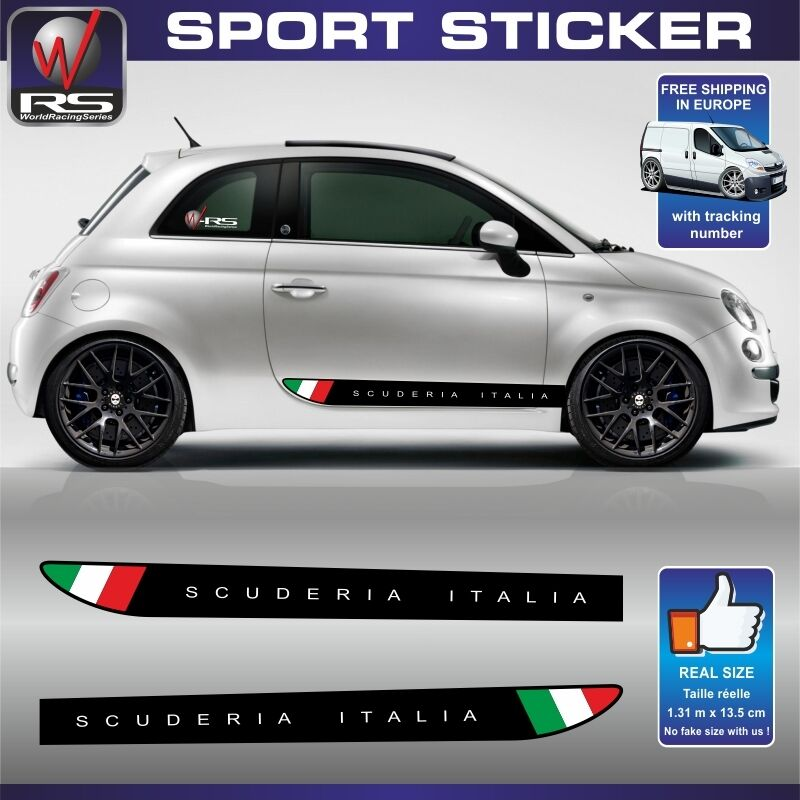 fiat 500 sticker decal scuderia italia abarth tuning pegatina aufkleber fi60 ebay. Black Bedroom Furniture Sets. Home Design Ideas