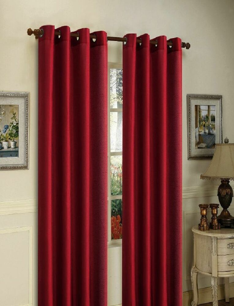 2 burgundy panels silk thermal lined blackout grommet for Grommet curtains