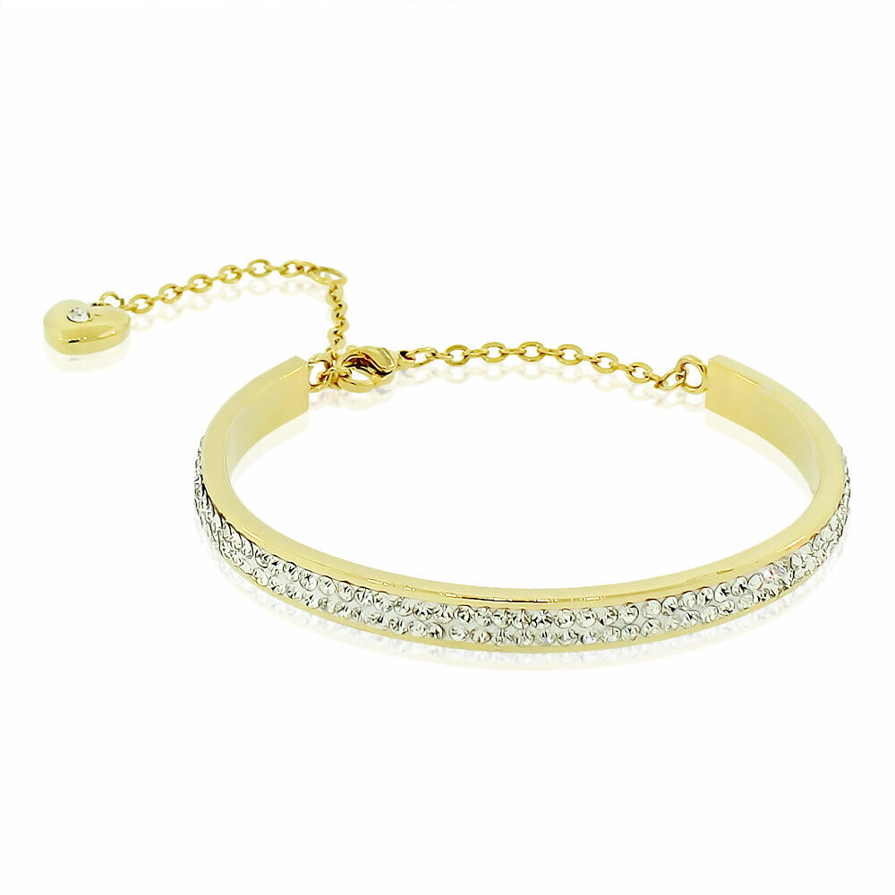 Stainless Steel Bracelet Charms: EDFORCE Stainless Steel Gold Tone Crystals CZ Love Heart
