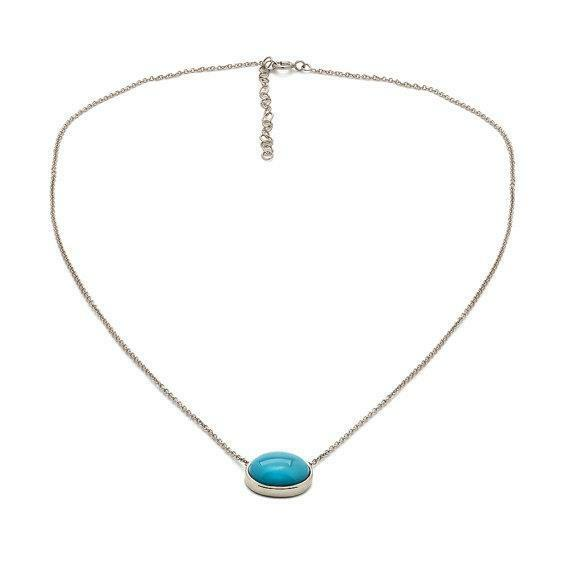 Turquoise Necklace Pendant Oval Cut Solitaire In 14 K