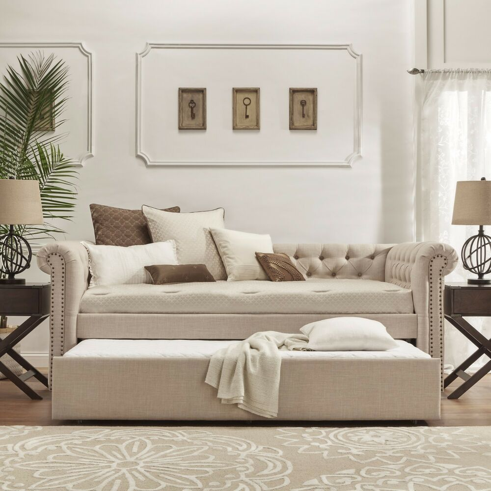 Twin Daybed Trundle Bed Chaise Sofa Lounge Couch Bunk Guest Room Furniture Wood Ebay