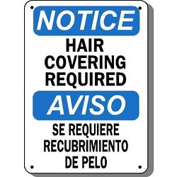 Notice Sign - Hair Covering Required- 10'' x 14'' Bilingual OSHA Safety