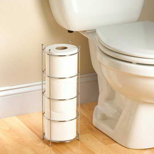 Toilet paper holder floor stand storage chrome tissue for Placement of toilet paper holders in bathrooms