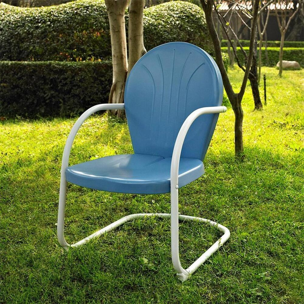 Blue white outdoor metal retro vintage style chair patio furniture ebay Vintage metal garden furniture