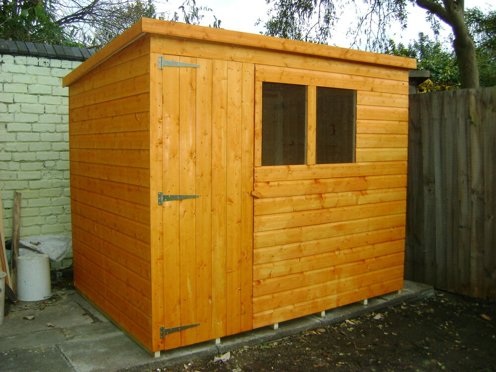 8ft x 6ft top quality tongue grove pent garden shed ebay for Best small garden sheds