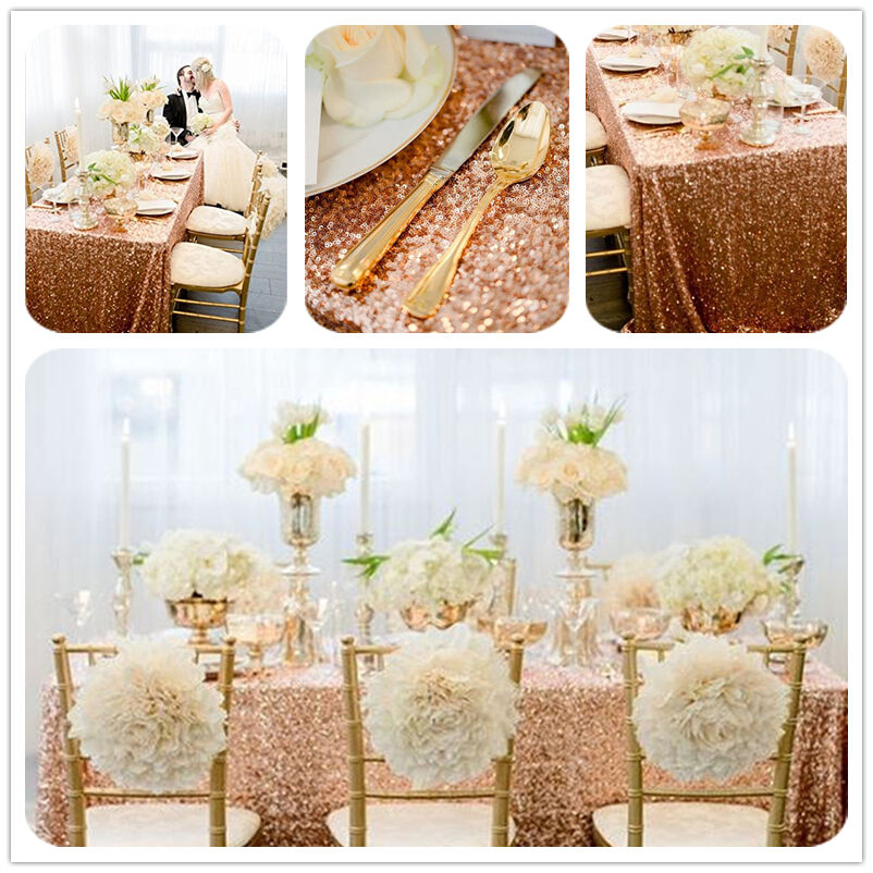 "90""*132"" Sparkly Rose Gold Rectangle Sequin Tablecloth for ..."