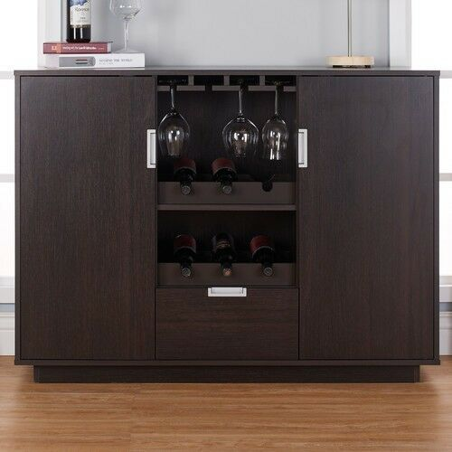 Modern Home Bar Cabinet: Wine Cabinet Bar Dining Buffet Storage Drawer Glass Home
