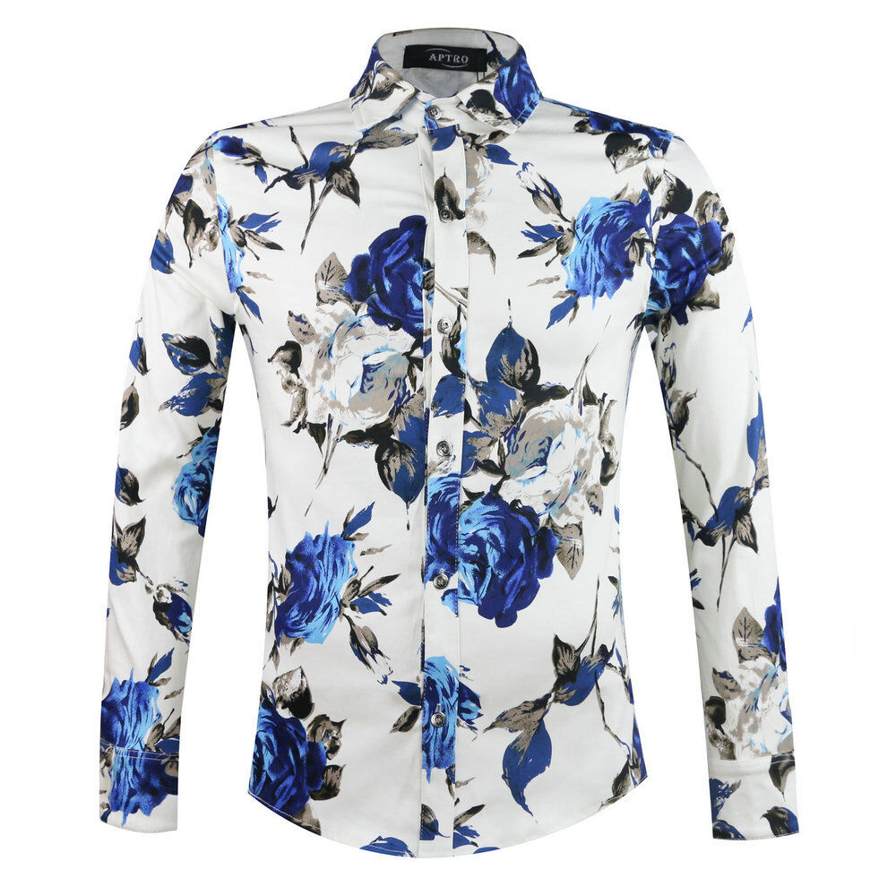 Mens Vintage Floral Shirt Long Sleeve Flower Pattern