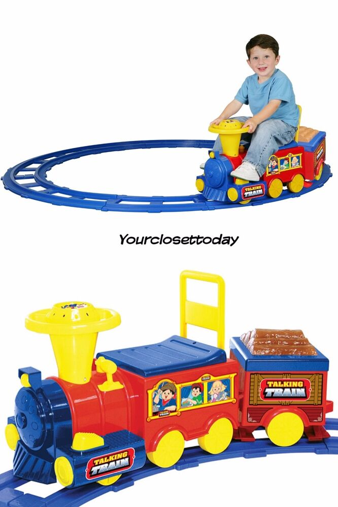 New Ride On Talking Train Track Battery Powered Toddler