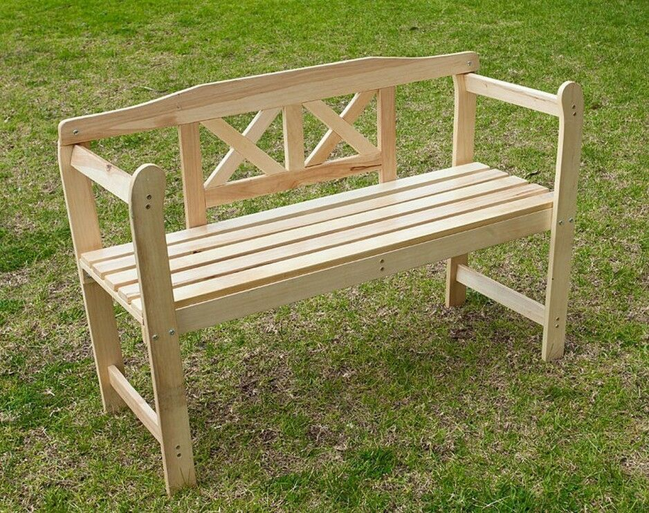 LARGE 2 SEATER WOODEN GARDEN BENCH CHAIR PARK SEAT OUTDOOR ...