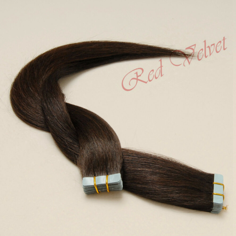 100 remy human hair seamless tape in hair extensions 2 darkest brown ebay. Black Bedroom Furniture Sets. Home Design Ideas