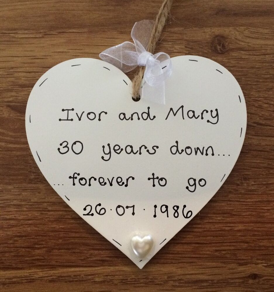 Personalised Wooden Heart Wedding Gift : personalised handmade pearl/30th wedding anniversary wooden heart gift ...