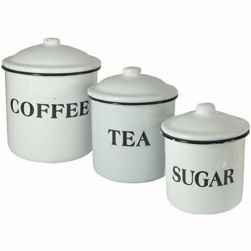 Canister Set Kitchen Vintage Style Enamel French Country