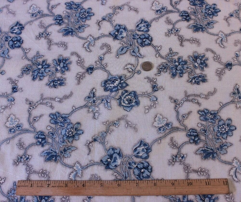Antique french blue floral old chintz fabric picotage for Chintz fabric
