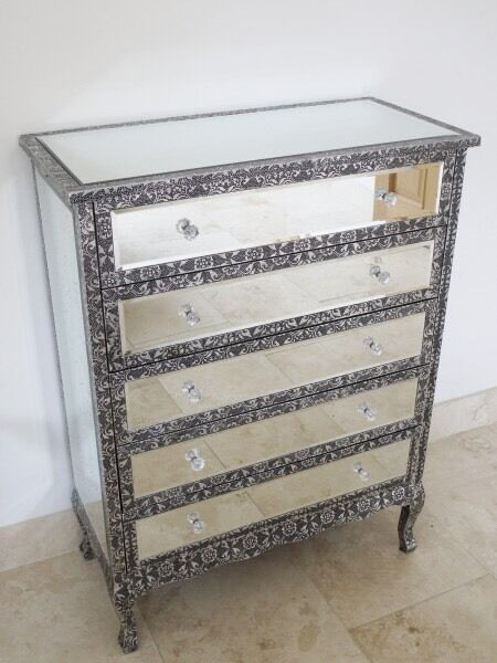 Black silver embossed metal drawer mirrored chest of