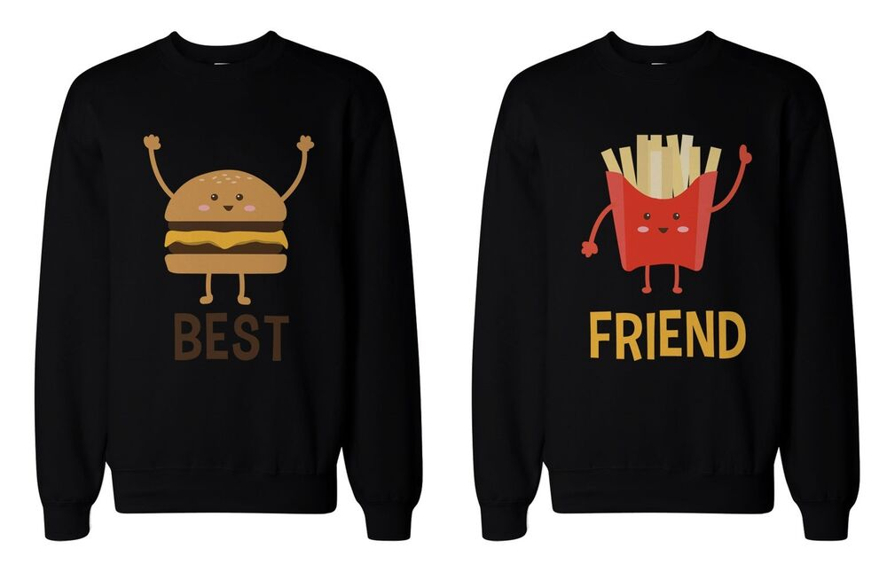 burger and fries bff sweatshirts best friend matching. Black Bedroom Furniture Sets. Home Design Ideas