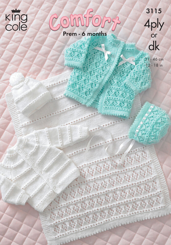 King Cole DK 4Ply Knitting Pattern Baby Coat Cardigan Bonnet Hat Pram Cover 3...