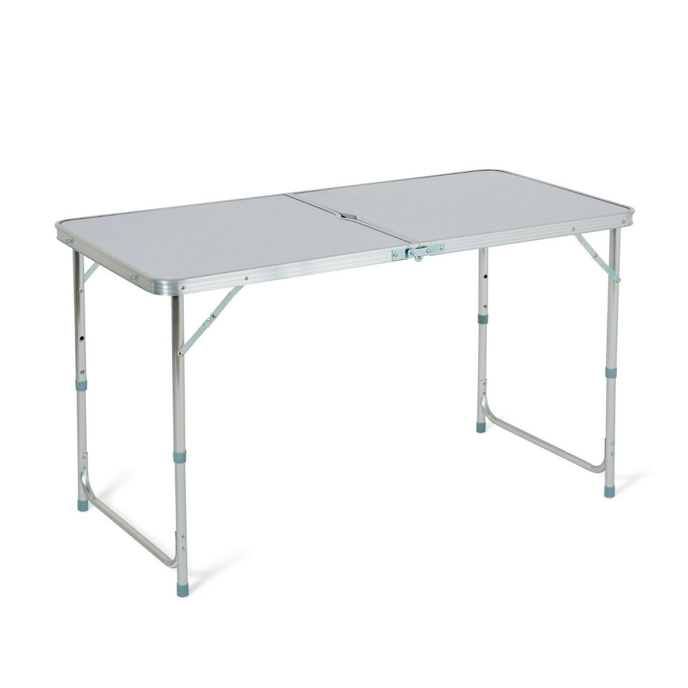 4ft folding camping table aluminium picnic portable - Camping table adjustable height ...