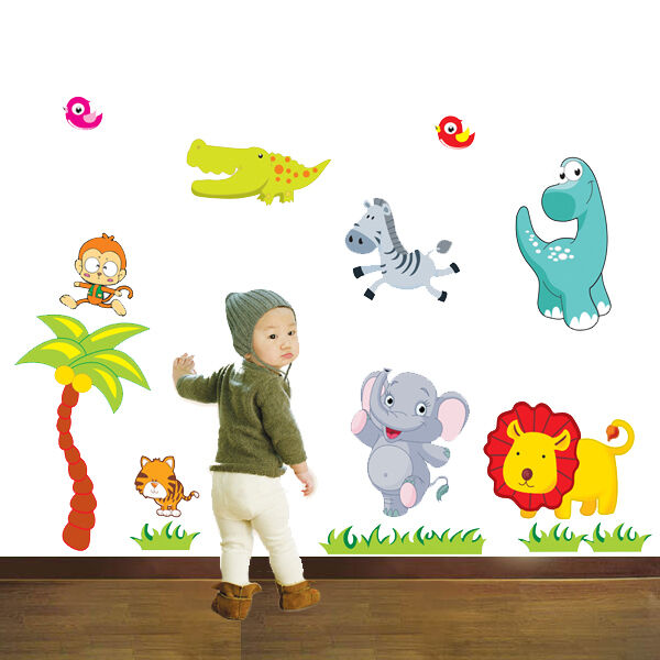 Wandtattoo kinderzimmer s sse tiere dino zoo affe l we for Wandtattoo lowe