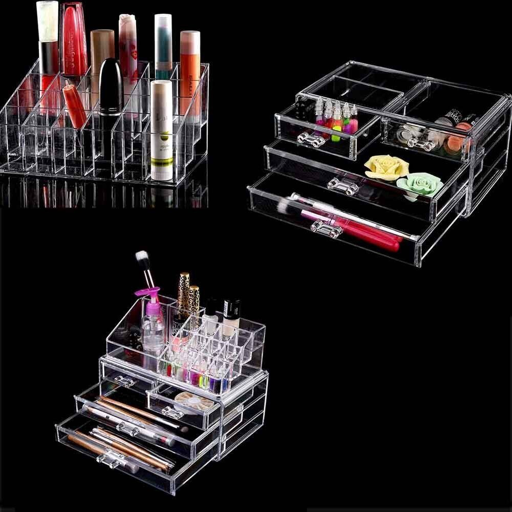 makeup case drawers cosmetic organizer jewelry storage. Black Bedroom Furniture Sets. Home Design Ideas