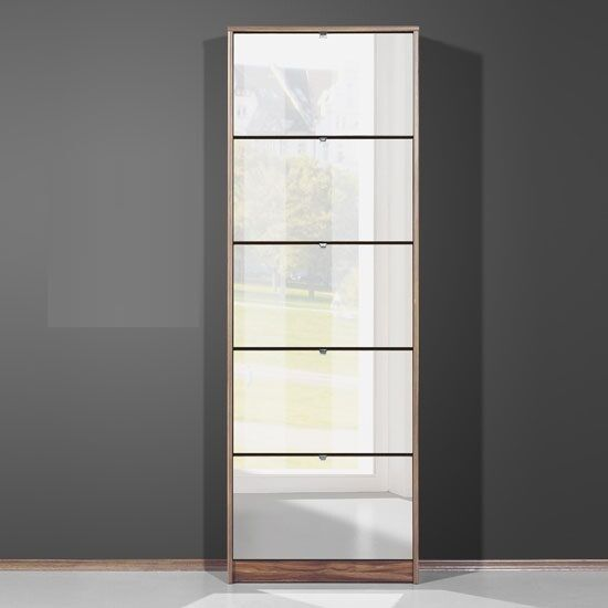 Tall Mirrored Shoe Cabinet In Walnut With 5 Drawers | eBay