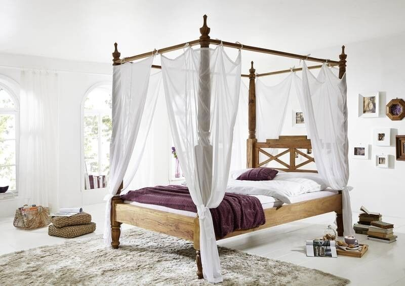 traumhaftes luxus himmelbett aus massiven palisander holz bett mit stoff himmel ebay. Black Bedroom Furniture Sets. Home Design Ideas