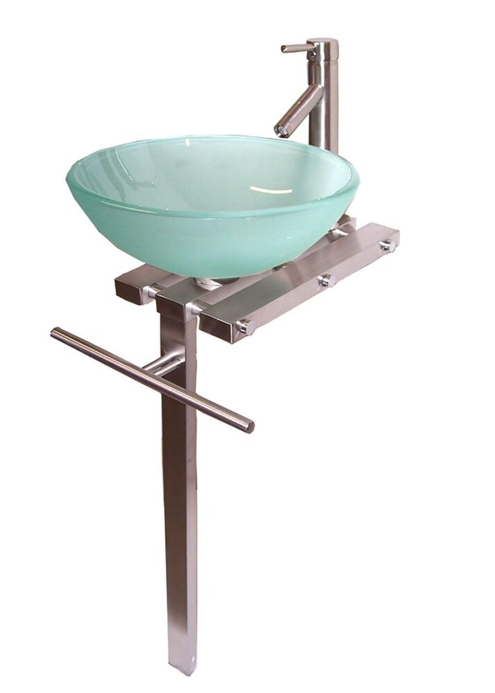 Contemporary Bathroom Vanities Pedestal Glass Bowl Vessel Sink Combo ...