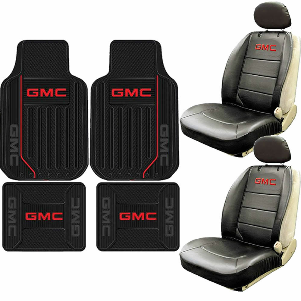 New 8pc GMC Elite Style Logo Sideless Seat Covers Rubber